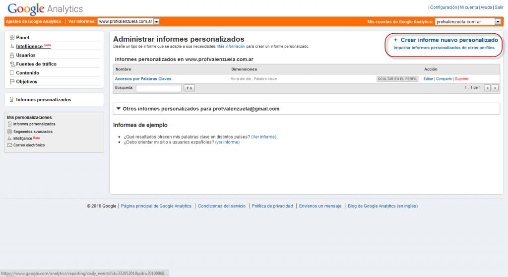 Informe personalizado oculto creacion 1024x558 Google Analytics Informe Personalizado con Filtro Avanzado de Otra Dimension
