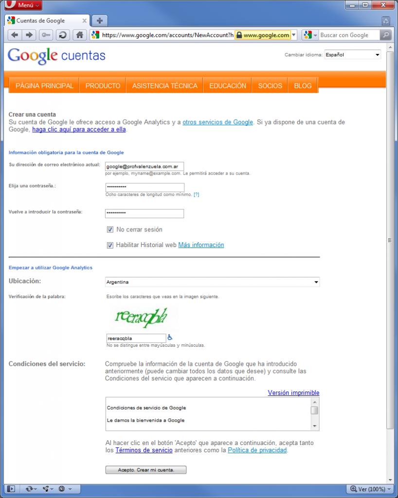 cuenta google 818x1024 Como usar Google Analytics con tu email actual