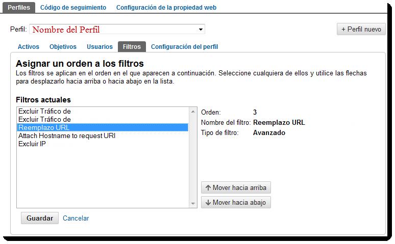 orden filtros perfil nuevo google analytics2 Filtros de Perfil en el Nuevo Google Analytics vs versión anterior