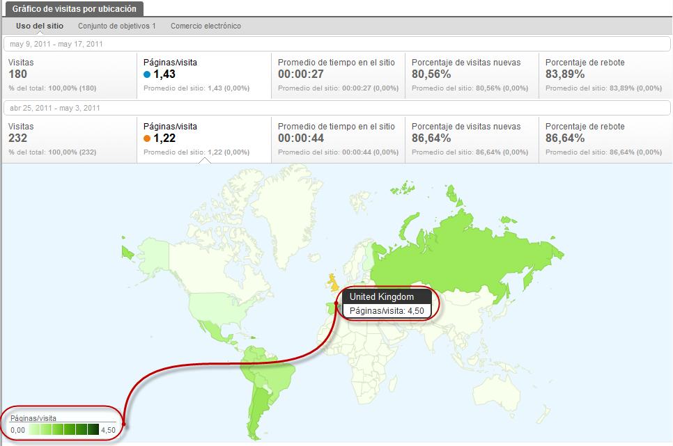Visitas por Ubicacion en Google Analytics Paginas por Visitas