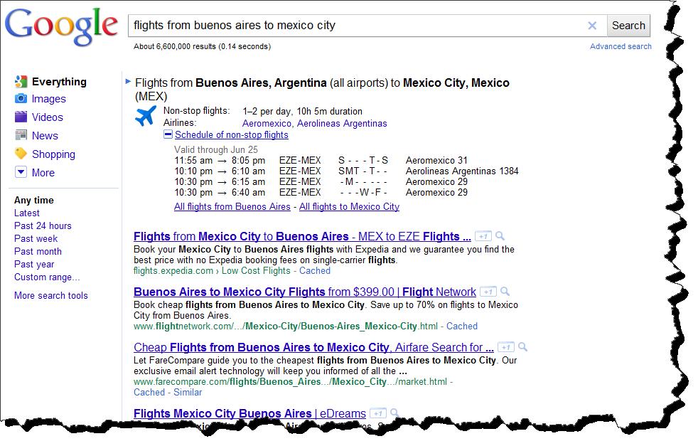 Vuelos y Aerolineas en Google