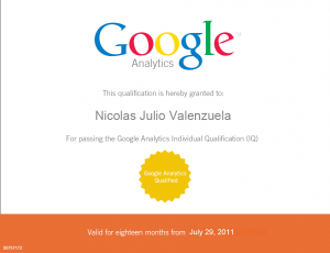 Nicolas Julio Valenzuela Google Analytics Qualified IQ 300x230 Google Analytics Individual Qualification (IQ)