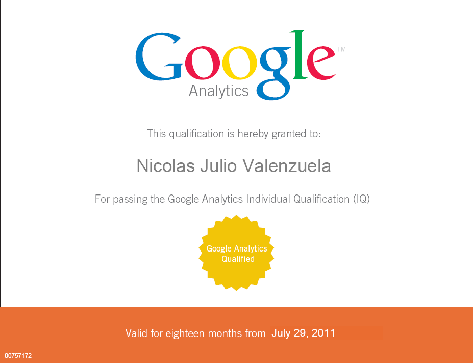 Nicolas Julio Valenzuela Google Analytics Qualified IQ