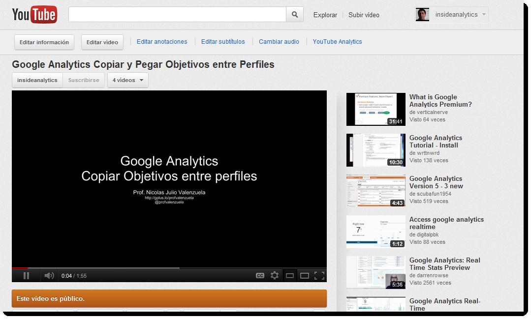 Google Analytics Copiar y pegar Objetivos