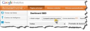 Dashboard SEO Google Analytics Compartir panel de control 300x103 Comparte tu Dashboard Personalizado en Google Analytics