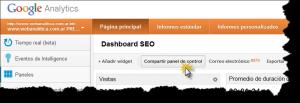 Dashboard SEO Google Analytics Compartir panel de control 300x103 Comparte tu Dashboard Personalizado en Google Analytics