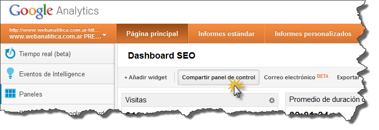Dashboard SEO Google Analytics Compartir panel de control