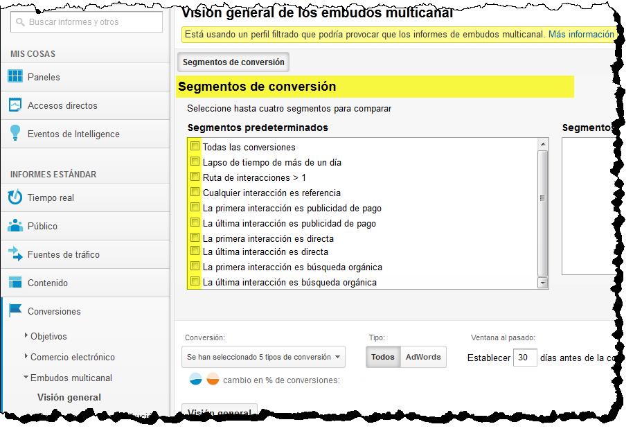 Segmentos de conversiones  google analytics Social Media Analytics Analizando los objetivos de Conversion