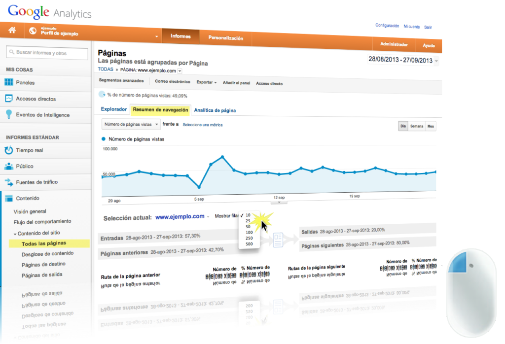 ruta de navegacion google analytics profvalenzuela 1024x698 Conoce las 500 rutas de Navegacion interna de tu sitio | Google Analytics